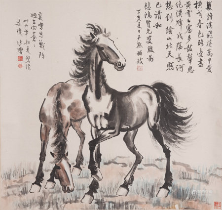 Chinese Painting Hanging Scroll Of Steeds With Inscriptions