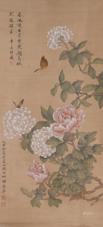 Chinese Painting Hanging Scroll Of Peonies And Butterflies