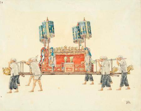 VIETNAM, Ecole de Gia Dinh, de 1926 à 1940  Phan Van Tan, promo 1935.  Transport du catafalque