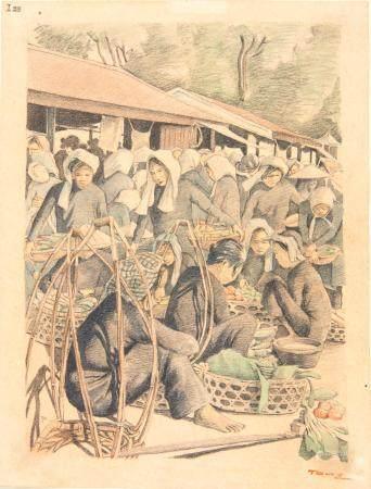 VIETNAM, Ecole de Gia Dinh, de 1926 à 1940  Marché de légumes. (de Bà-Chiêu)  Aquarelle et cray