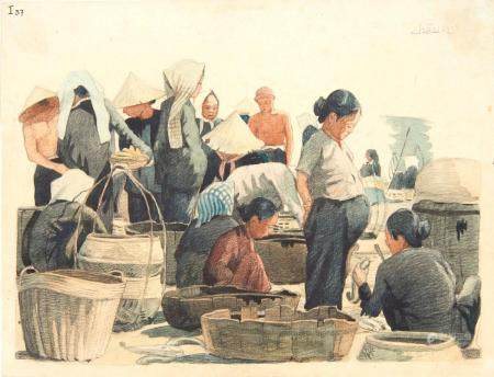 VIETNAM, Ecole de Gia Dinh, de 1926 à 1940  Nguyen Thauh Châu, promo 1935.  Métiers. Marché aux