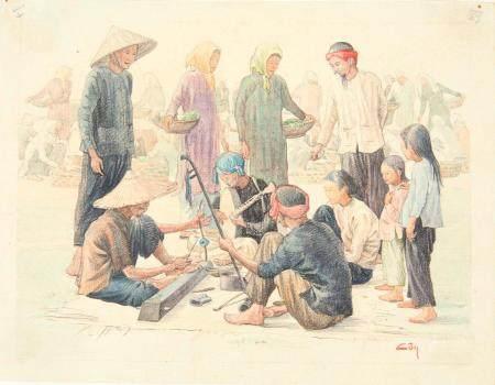 VIETNAM, Ecole de Gia Dinh, de 1926 à 1940  Dào Van Côn, promo 1937.  Chants de la rue.  Aqu