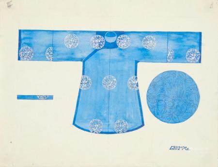 VIETNAM, Ecole de Gia Dinh, de 1926 à 1940  Robe de cérémonie bleue ao nông xauh.  Aquarelle et