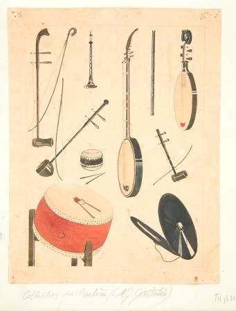 VIETNAM, Ecole de Gia Dinh, de 1926 à 1940  Instruments de musique de théâtre. 1) Co (violon) 2