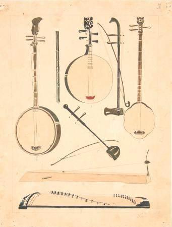 VIETNAM, Ecole de Gia Dinh, de 1926 à 1940  Instruments de musique de concert. 1) Sên 2) Co (vi