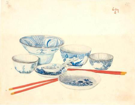 VIETNAM, Ecole de Gia Dinh, de 1926 à 1940  Dao Van Con, promo 1937.  La vaisselle. 1) Tô 2) Ch