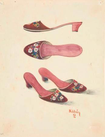 VIETNAM, Ecole de Gia Dinh, de 1926 à 1940  Nguyen Van Kiem, promo 1934.  Chaussures de femme.