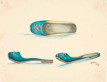 VIETNAM, Ecole de Gia Dinh, de 1926 à 1940  Cao Phu Quoi, promo 1933.  Chaussures traditionnell
