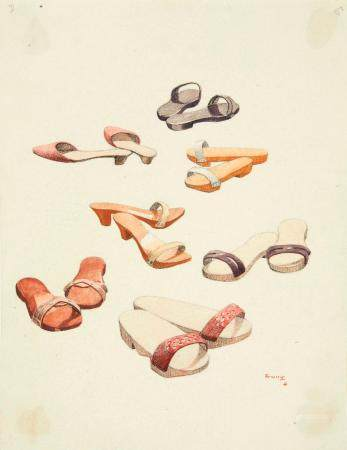 VIETNAM, Ecole de Gia Dinh, de 1926 à 1940  Hô Van Trung, promo 1935.  Chaussures annamite. Sab