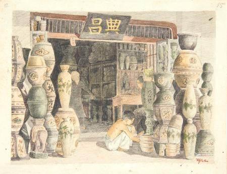 VIETNAM, Ecole de Gia Dinh, de 1926 à 1940  Métiers. Boutique de poteries et céramiques sur qua