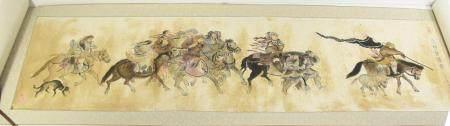 peinture sur rouleau avec scène de guerre, signée, ca.132x36cm, Chine 19ème/20ème siècle