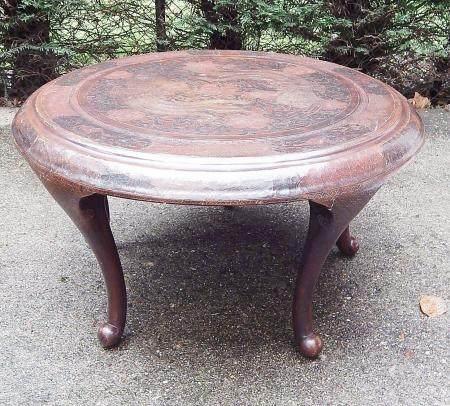 Table ronde de salon, artisanat d'Asie orientale du 20e siècle, haut 47 cm, diamètre 86 cm
