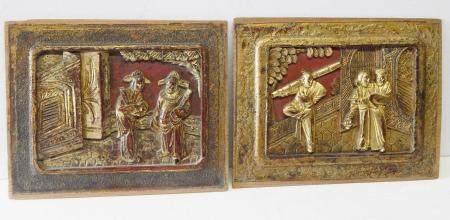 lot mixte 2 panneaux en bois avec demi reliefs figuratifs, sculpture chinoise sur bois du 20ème