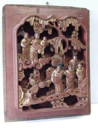 panneau de bois laqué avec sculpture en plastique intégral, artisanat chinois des 19e/20e siècl