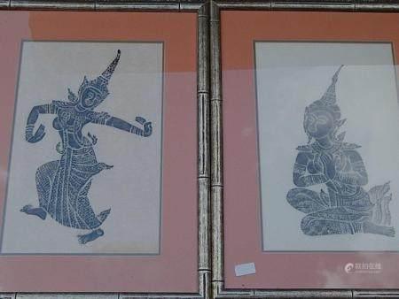 """""""Danseuses du temple"""", imprimées sur du papier de riz, environ 44x28 cm, ensemble"""