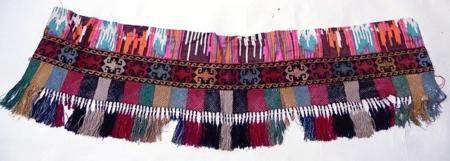 penture de porte, soie sur coton, motif traditionnel, environ 132 cm de long, environ 120 ans