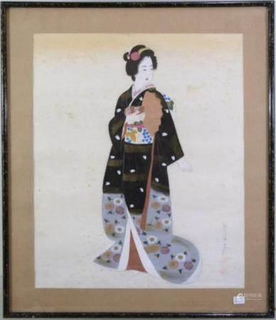 """""""Geisha"""", aquarelle, encadrée derrière une vitre, vers 42x34cm, vers 1900/20"""