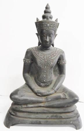 Bouddha assis, bronze avec pierres semi-précieuses, Song Krüang, Birmanie, environ 100 ans, hau