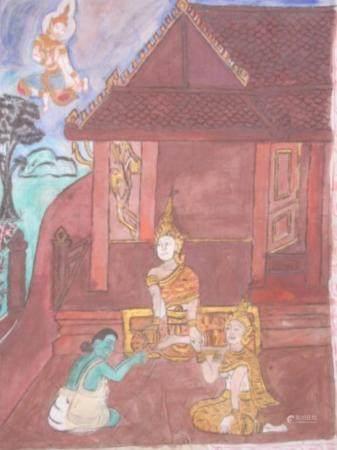 """""""Scène mythologique avec un homme de coul verte dans un temple"""", œuvre en batik, probablemen"""