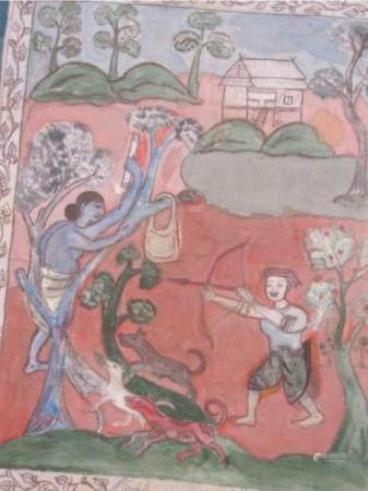 """""""Scène de chasse"""", œuvre en batik, probablement d'Indonésie, inscrite sur le fond, non encadrée"""