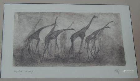 """""""Troupeau de girafes"""", gravure en coul, inscription manuscrite """"Epreuve coul"""", signature"""