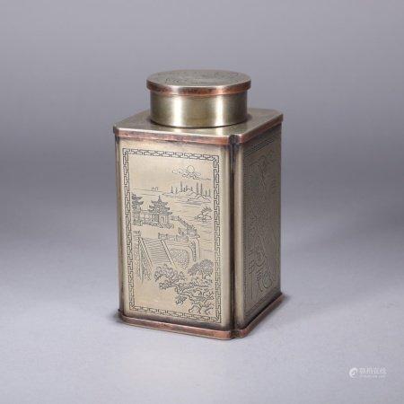 清代 铜刻山石花卉纹茶叶罐