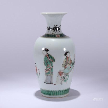 清代 五彩人物教子图题诗文瓷瓶