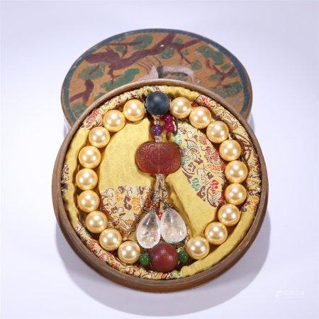 清代 金珍珠十八子手持