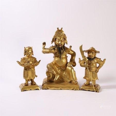 清代 铜鎏金关公造像