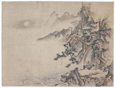 Attributed to Shūgetsu Tōkan 秋月等観 (d. 1529) Scholar Contemplating the Moon Muromachi period (1333-1573), 16th century (2)