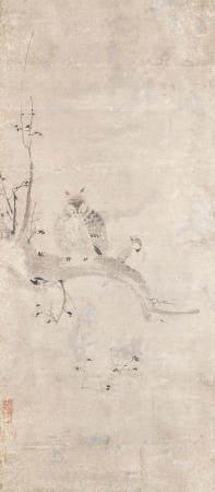 Attributed to Kaihō Yushō 海北友松 (1533-1615) Owl and Skylark on a Prunus Branch Momoyama period (1573-1615), late 16th/early 17th century