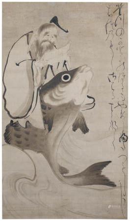 Attributed to Kaihō Yushō 海北友松 (1533-1615) and Karasuma Mitsuhiro 烏丸光広 (1579-1638) Kinkō Riding a Carp Momoyama (1573-1615) or Edo (1615-1868) period, early 17th century (2)