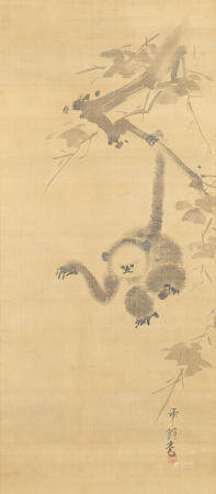 Katsuta Chikuō 勝田竹翁 (fl. 1624-1648) Gibbon Reaching for the Moon's Reflection Edo period (1615-1868), mid-17th century (2)