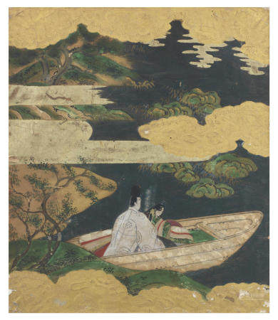 Artist Unknown A Tosa-School Album-Leaf Illustration to Genji Monogatari (The Tale of Genji), Chapter 51: Ukifune (A Boat Upon the Waters) Probably Momoyama (1573-1615) or Edo (1615-1868) period, first quarter of the 17th century