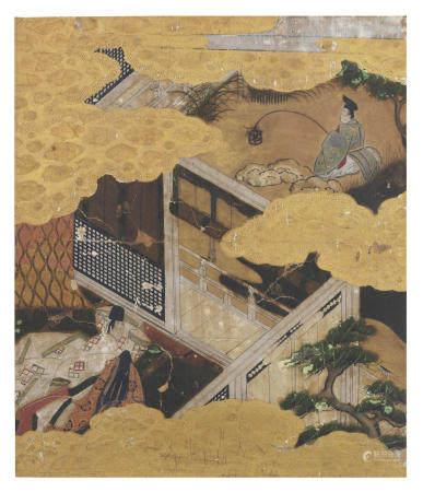 Artist Unknown A Tosa-School Album-Leaf Illustration to Genji Monogatari (The Tale of Genji), Chapter 27: Kagaribi (Flares) Momoyama period (1573-1615), early 17th century