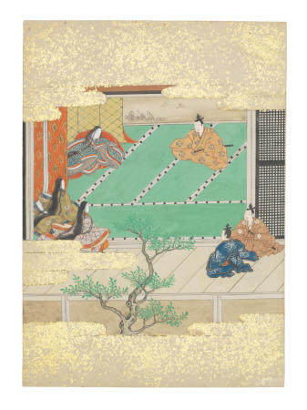Artist Unknown, Nara-Ehon style Section from a Set of Illustrations to  Soga monogatari(The Tale of the Soga Brothers): Book 1 Chapter 4, The dying Suketsugu, father of Suketsune, receives his cousin the treacherous Sukechika in audience Edo period (1615-1868), late 17th century