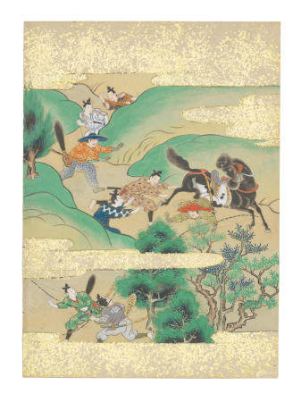 Artist Unknown, Nara-Ehon style Section from a Set of Illustrations to  Soga monogatari (The Tale of the Soga Brothers): Book 1 Chapter 7, Kotōda and Saburō stalk Sukechika Edo period (1615-1868), late 17th century