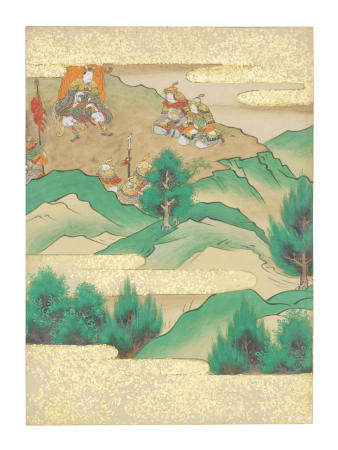 Artist Unknown, Nara-Ehon style Section from a Set of Illustrations to  Soga monogatari (The Tale of the Soga Brothers): Book 2 Chapter 11, Masako flees from Yamaki into the mountains  Edo period (1615-1868), late 17th century