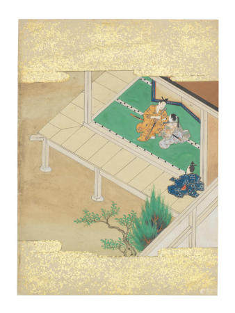 Artist Unknown, Nara-Ehon style Section from a Set of Illustrations to  Soga monogatari (The Tale of the Soga Brothers): Book 4 Chapter 4, Suketsune makes a gift of a sword to Hakoō  Edo period (1615-1868), late 17th century
