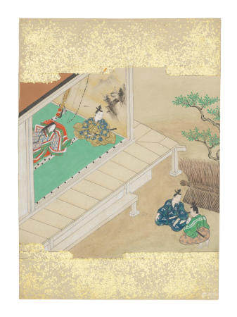 Artist Unknown, Nara-Ehon style Section from a Set of Illustrations to  Soga monogatari (The Tale of the Soga Brothers): Book 5 Chapter 7, Jūrō and Gorō ask for Yoichi's assistance Edo period (1615-1868), late 17th century