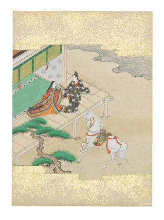 Artist Unknown, Nara-Ehon style Section from a Set of Illustrations to  Soga monogatari (The Tale of the Soga Brothers): Book 5 Chapter 8, Jūrō and Gorō on their way home from Miura; Jūrō decides to make a detour to Ōiso to see Tora Edo period (1615-1868), late 17th century