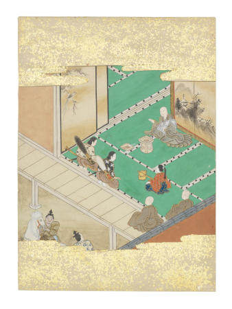 Artist Unknown, Nara-Ehon style Section from a Set of Illustrations to  Soga monogatari (The Tale of the Soga Brothers): Book 6 Chapter 4, Gorō and Jūrō receive a blessing before they set off to seek their revenge  Edo period (1615-1868), late 17th century