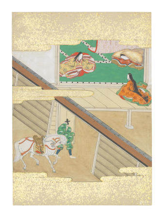 Artist Unknown, Nara-Ehon style Section from a Set of Illustrations to  Soga monogatari (The Tale of the Soga Brothers): Book 6 Chapter 5, Dōsaburō bids farewell to Tora Edo period (1615-1868), late 17th century