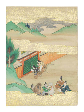 Artist Unknown, Nara-Ehon style Section from a Set of Illustrations to  Soga monogatari (The Tale of the Soga Brothers): Book 8 Chapter 2, Gorō and Jūrō pray to the god of Mishima Edo period (1615-1868), late 17th century