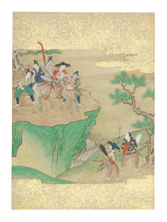 Artist Unknown, Nara-Ehon style Section from a Set of Illustrations to  Soga monogatari (The Tale of the Soga Brothers): Book 8 Chapter 3, The plain beneath Mount Fuji Edo period (1615-1868), late 17th century
