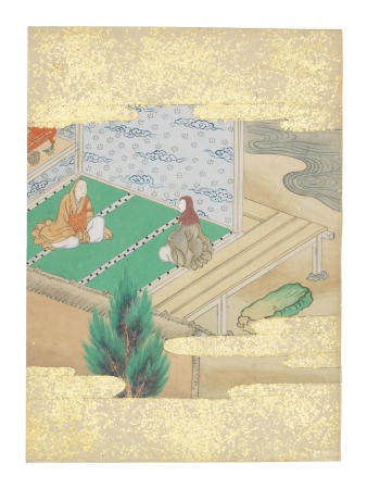 Artist Unknown, Nara-Ehon style Section from a Set of Illustrations to  Soga monogatari (The Tale of the Soga Brothers): Book 12 Chapter 5, Tora and Shōshō visit Saint Hōnen and convert to the Pure Land sect Edo period (1615-1868), late 17th century