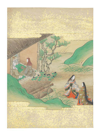 Artist Unknown, Nara-Ehon style Section from a Set of Illustrations to  Soga monogatari (The Tale of the Soga Brothers): Book 12 Chapter 6, Jūrō's mother and sister hear Tora chanting Namu Amida Butsu in the distance Edo period (1615-1868), late 17th century