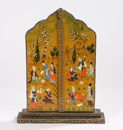 Middle Eastern mirror, the painted exterior panel doors with figures at leisure opening to reveal