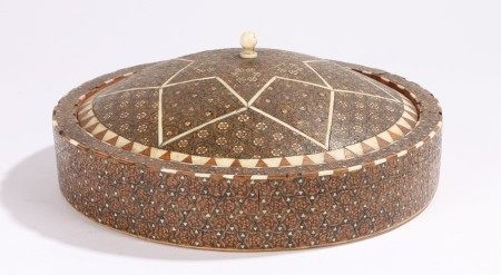 19th Century Turkish Ottoman container, with a domed top inlaid with mosaic panels opening to reveal