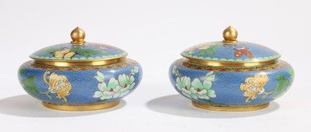 Pair of Chinese cloisonné pots and covers, with a blue ground and flower head design and butterflies